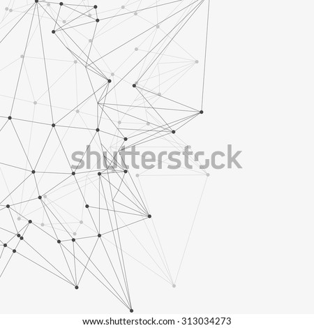 Abstract triangles space low poly. White background with connecting dots and lines. Light connection structure. Polygonal vector background. Futuristic HUD.