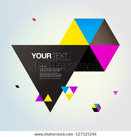 Abstract triangles text box design vector
