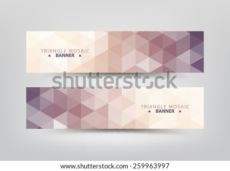 Abstract triangular pattern banners collection.