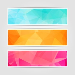 Abstract Triangular Polygonal vector banners set