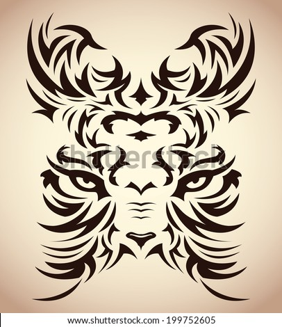 Psychedelic tiger tattoo - photo#24