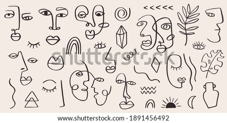 Abstract tribal woman portrait set in continuous line art. Fashion contemporary elements with ethnic female faces, leaves, flowers, shapes in modern Ink painting style. Minimalistic aesthetic concept Foto stock ©