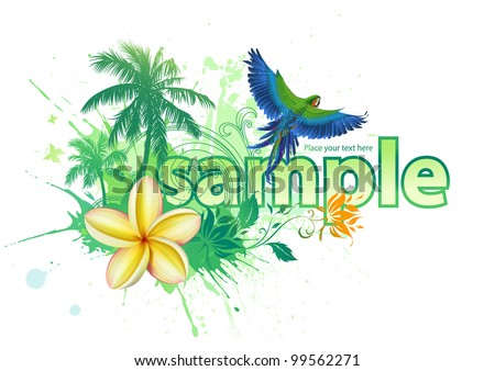 Abstract tropical background with palm trees, flowers and a parrot
