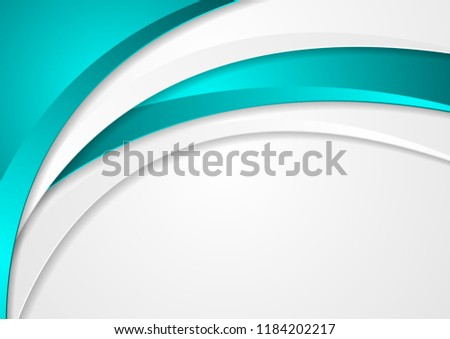 Abstract turquoise and grey corporate wavy background. Vector design