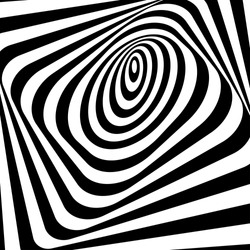 Abstract twisted black and white background. Optical illusion of distorted surface. Twisted stripes. Stylized 3d tunnel. Vector illustration. Great for wall art, poster, banner, web.
