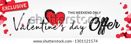 Abstract typography Happy Valentines Day Sale design vector with handwritten calligraphy text, isolated on love based theme background. can be used as valentine love greeting card,header, banner #1301121574