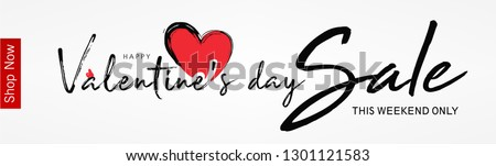 Abstract typography Happy Valentines Day Sale design vector with handwritten calligraphy text, isolated on love based theme background. can be used as valentine love greeting card,header, banner #1301121583
