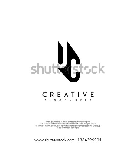 abstract UC logo letter in shadow shape design concept Foto stock ©