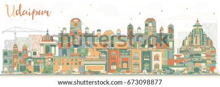 Abstract Udaipur Skyline with Color Buildings. Vector Illustration. Business Travel and Tourism Concept with Historic Architecture. Image for Presentation Banner Placard and Web Site.