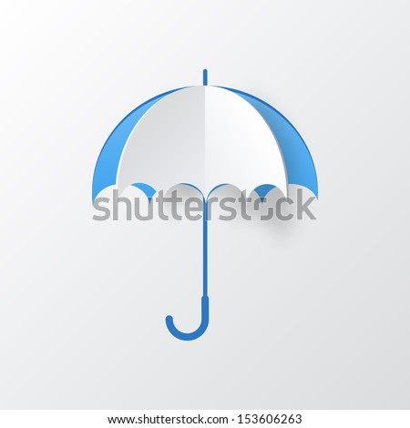 Abstract Umbrella Cut of Paper on White Background - stock vector