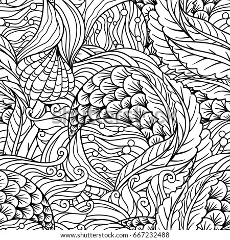 Abstract undersea flora seamless pattern, scale, seaweeds, flippers decorative waves vector background, sea flora motif, illustration for the coloring book.