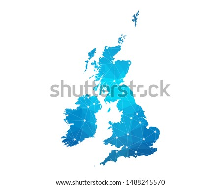 Abstract United kingdom Map geometric rumpled triangular low poly style gradient graphic on white background , line dots polygonal design for your . Vector illustration eps 10
