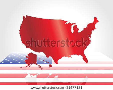 abstract united state map with flag