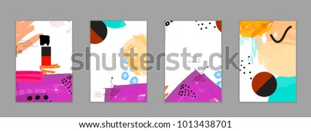 Abstract universal art web header template. Collage made with scribbles, marker, canyon strokes, black geometric shapes, ink drawn splashes. Bright colored isolated on white background cover template. #1013438701