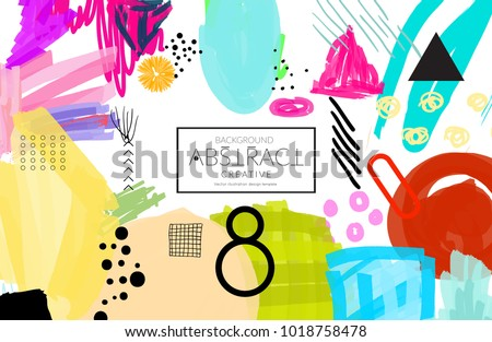 Abstract universal art web header template. Collage made with scribbles, marker, canyon strokes, black geometric shapes, ink drawn splashes. Bright colored isolated on white background cover template. Сток-фото ©