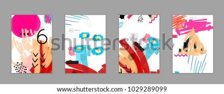 Abstract universal art web header template. Collage made with scribbles, marker, canyon strokes, black geometric shapes, ink drawn splashes. Bright colored isolated on white background cover template. #1029289099