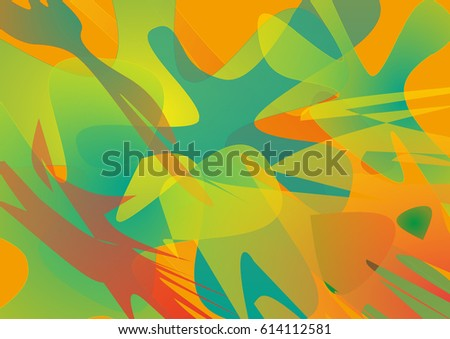 Abstract unusual background with geometrical shapes. Digital creative artwork with bright tropical motifs.