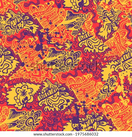 Abstract unusual decorative hand drawn seamless pattern