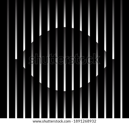 Abstract unusual eye sign logo on geometric black and white gradient stripes background. Luxury stripe pattern. Vector seamless fabric texture