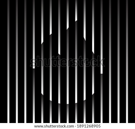 Abstract unusual fire sign logo on geometric black and white gradient stripes background. Luxury stripe pattern. Vector seamless fabric texture.