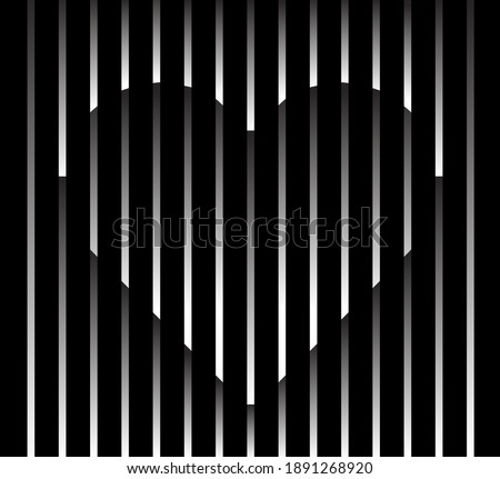Abstract unusual heart sign logo on geometric black and white gradient stripes background. Luxury stripe pattern. Vector seamless fabric texture.
