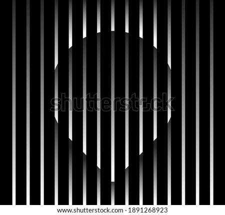 Abstract unusual pin sign logo on geometric black and white gradient stripes background. Luxury stripe pattern. Vector seamless fabric texture