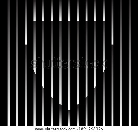 Abstract unusual shield sign logo on geometric black and white gradient stripes background. Luxury stripe pattern. Vector seamless fabric texture