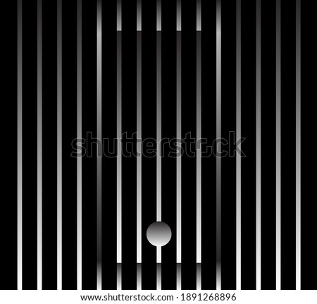 Abstract unusual smartphone sign logo on geometric black and white gradient stripes background. Luxury stripe pattern. Vector seamless fabric texture.