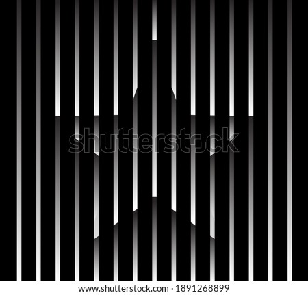 Abstract unusual star sign logo on geometric black and white gradient stripes background. Luxury stripe pattern. Vector seamless fabric texture.
