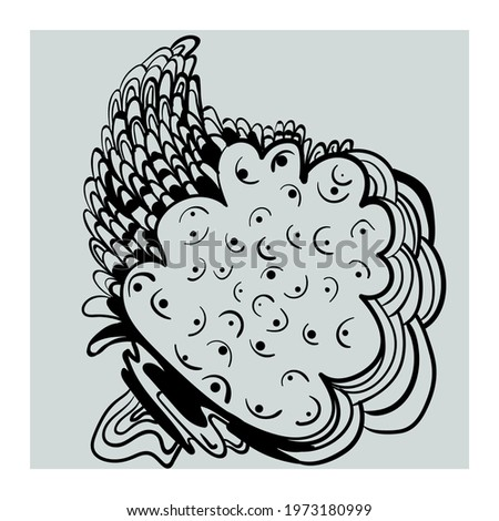 Abstract unusual vector artwork with hand drawn illustration