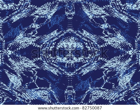 Abstract urban background pattern with skull, ghosts and bones in blue denim colors. Design are seamless.  Vector. - stock vector