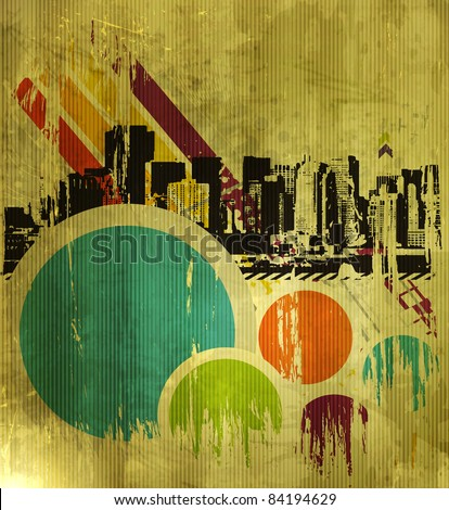 Abstract urban city on a texture background, vector illustration