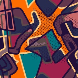 Abstract urban colorful seamless pattern.