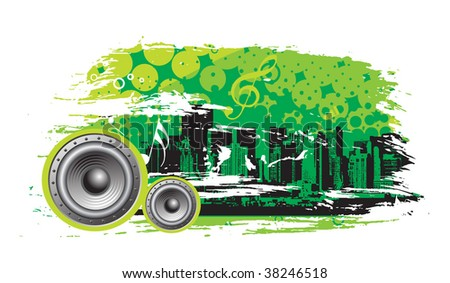 abstract urban grunge city background with music theme,vector illustration
