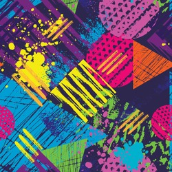 Abstract urban seamless pattern with grunge elements, spots and dots.