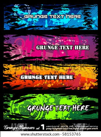 Abstract Urban Style Grunge Banners with rainbow colours