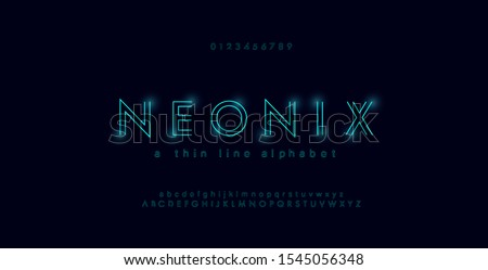 Abstract urban thin line font alphabet. Minimal modern neon fonts and numbers. Typography typeface uppercase lowercase and number. vector illustration