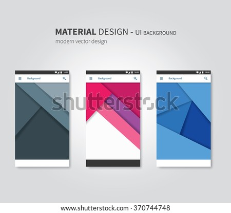 abstract user interface templates of overlaps paper / set of ui material design background