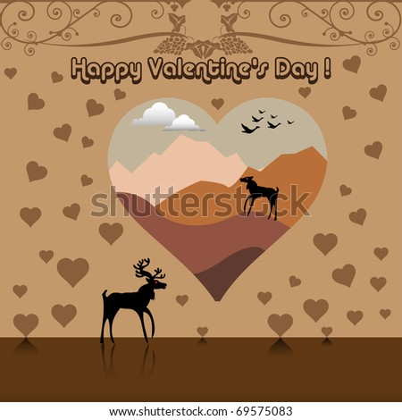 Abstract Valentine's Day concept with brown hearts and a reindeer thinking with nostalgia at his soul mate