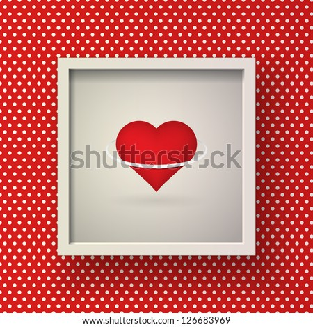 Abstract Valentine's Day design vector with framed heart with ring