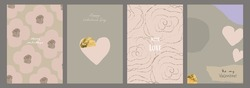 Abstract Valentine's day greeting cards set hand drawn geometric shapes  and flower patterns with gold foil glitter decoration. Romantic backgrounds for invitation, wrapping paper, greeting card, etc
