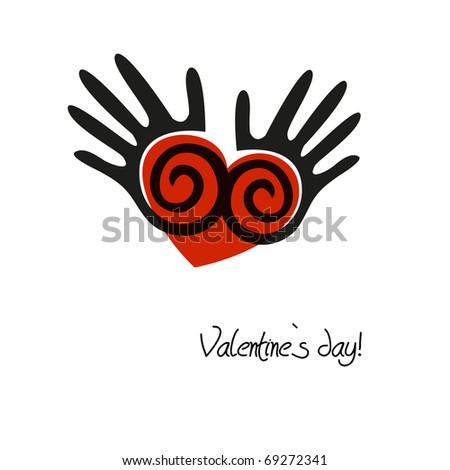 Abstract valentines background with heart in the human hands