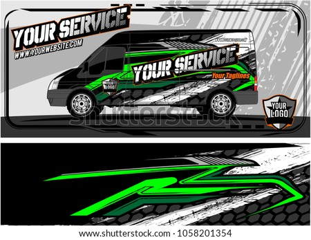 abstract van graphic kit for vinyl wrap and car branding. Racing Background for vehicle vinyl wrap