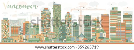 abstract vancouver skyline with