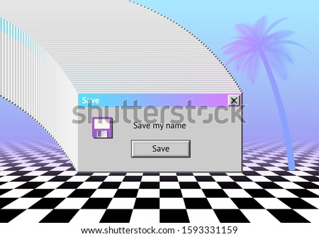 Abstract vaporwave aesthetics background with 90s style system message window, palm and checkered floor covered with pink and blue gradient mist