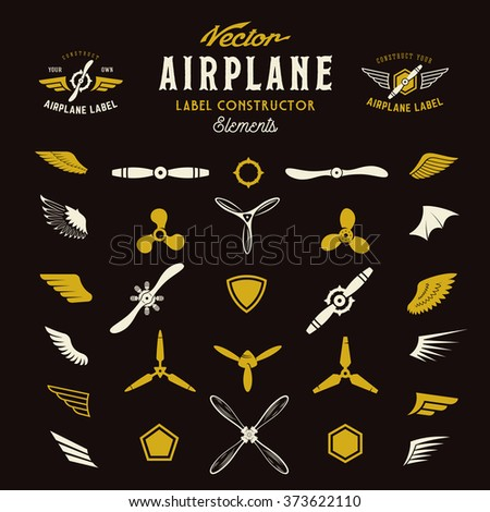 abstract vector airplane labels