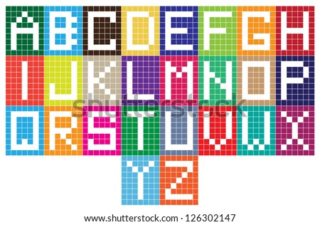 abstract vector alphabet letters design on grid paper Stock fotó ©