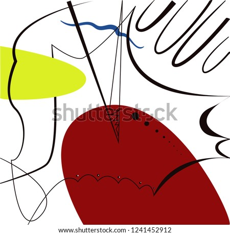 Abstract vector artwork, inspired by Spanish painter Joan Miro