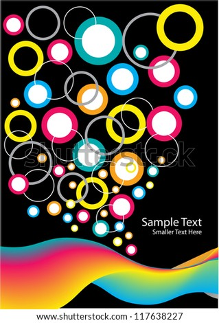 abstract vector backdrop design with colorful bubbles, waves and place for your text isolated on black background
