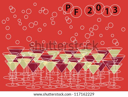 abstract vector backdrop design with happy new year motive, wine glasses and bubbles isolated on orange background